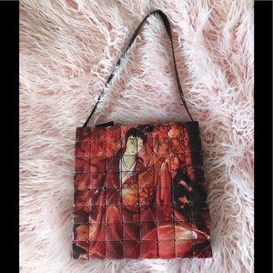 Chico's Geisha Asian Theme wood tile purse bag